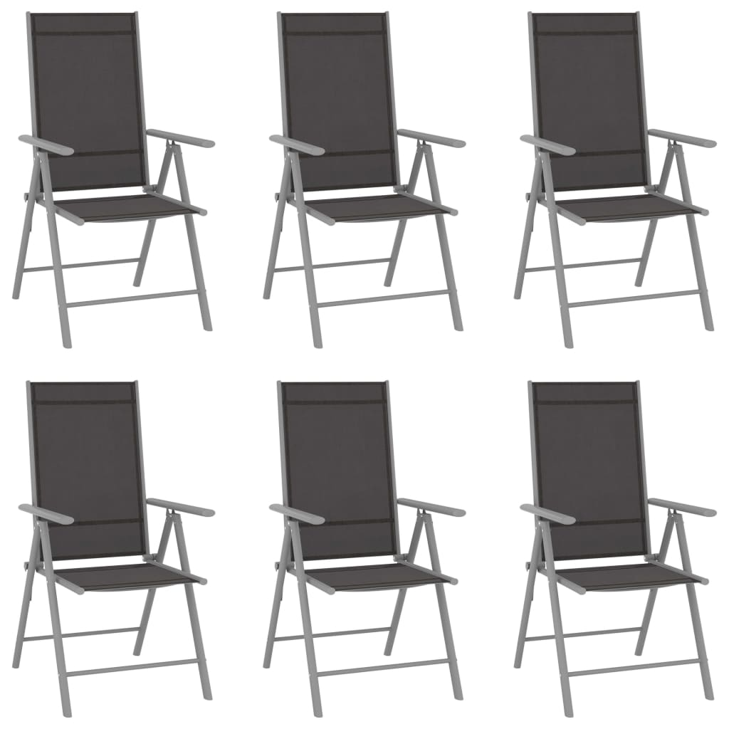 Gartenstühle Klappbar 6 Stk. Textilene Schwarz günstig online kaufen