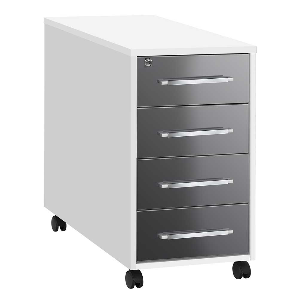 Abschließbarer Rollcontainer in Weiß Grau Hochglanz vier Schubladen günstig online kaufen