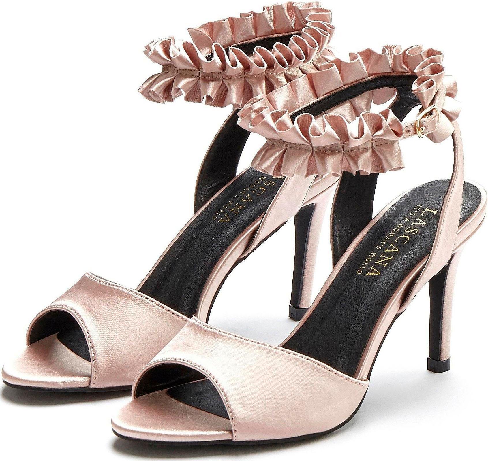 LASCANA High-Heel-Sandalette, mit Rüschenband günstig online kaufen