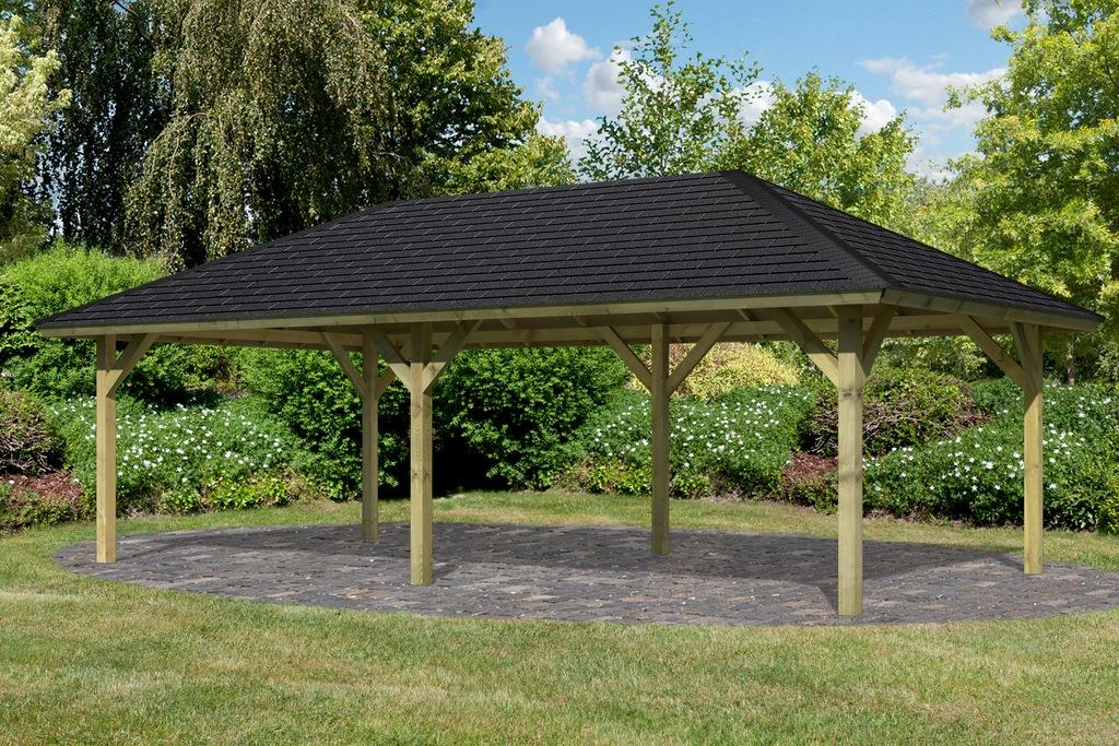 Karibu Pavillon Holm 2, (Set), BxTxH: 431x778x318 cm, mit schwarzen Dachsch günstig online kaufen