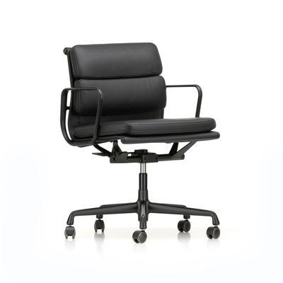 Soft Pad EA 217 Sessel mit Rollen / Mittelhohe Rückenlehne - Leder / Eames, günstig online kaufen
