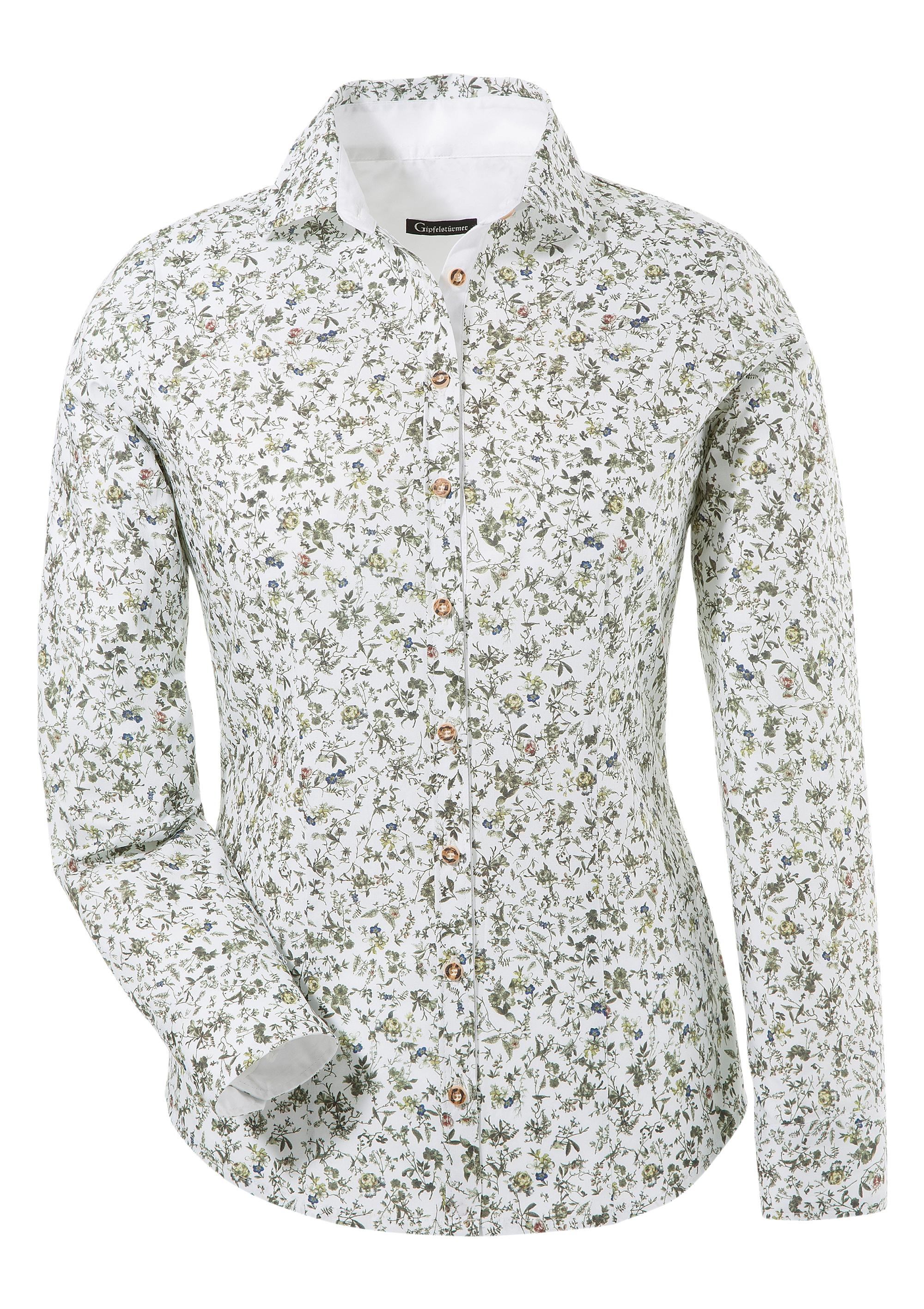 OS-Trachten Trachtenbluse, mit floralem Muster und Knöpfe in Hirschhornopti günstig online kaufen