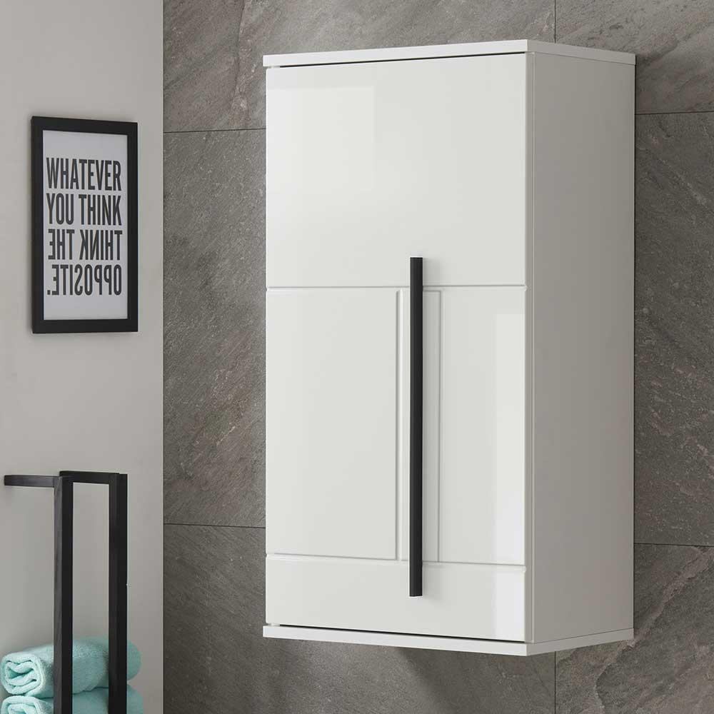 Badezimmer Hängeschrank in Weiß Hochglanz 1 türig günstig online kaufen