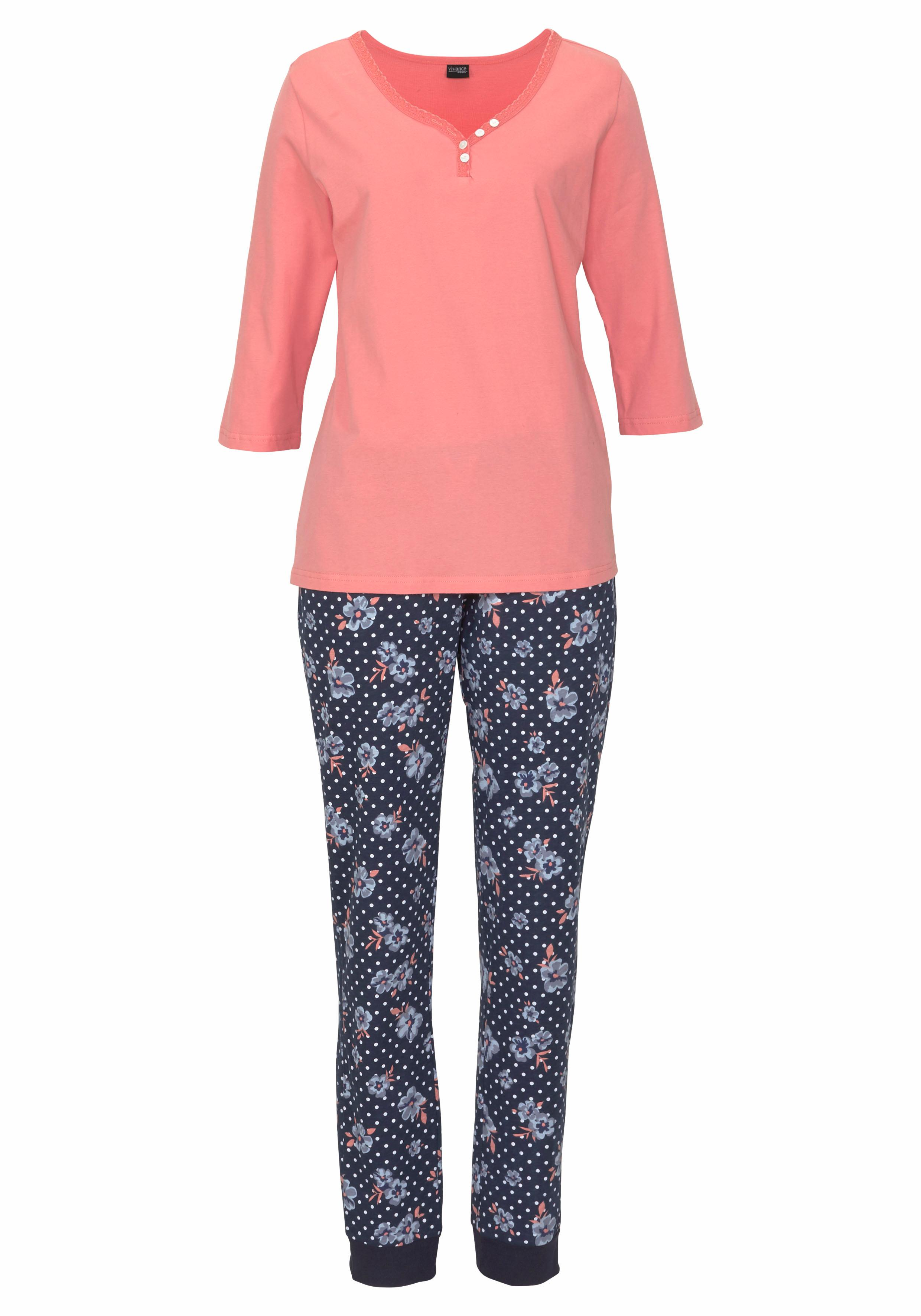 H.I.S Pyjama mit 3/4-Arm und Knopfleiste günstig online kaufen