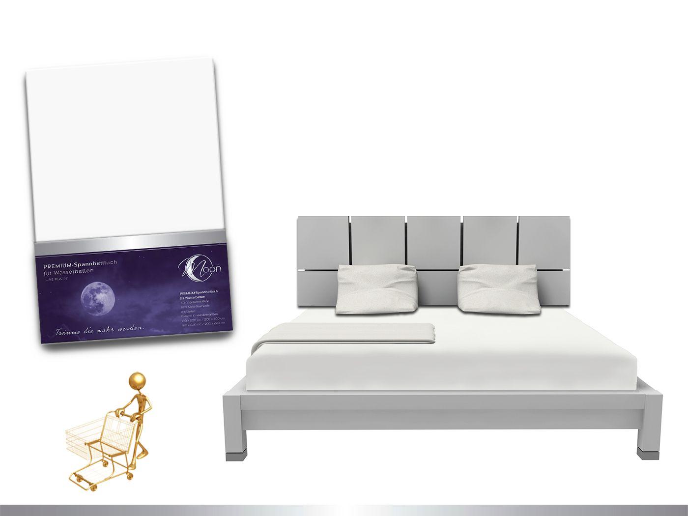 """Luxus Wasserbett Spannbettlaken """"Line platin"""" 180 - 200x220 240g/m² Spannbe günstig online kaufen"""