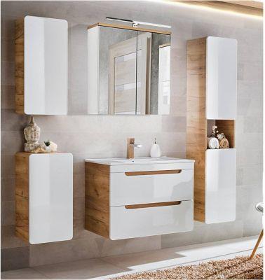 Badezimmer Komplettset in Hochglanz weiß mit Wotaneiche LUTON-56 BxHxT ca. günstig online kaufen