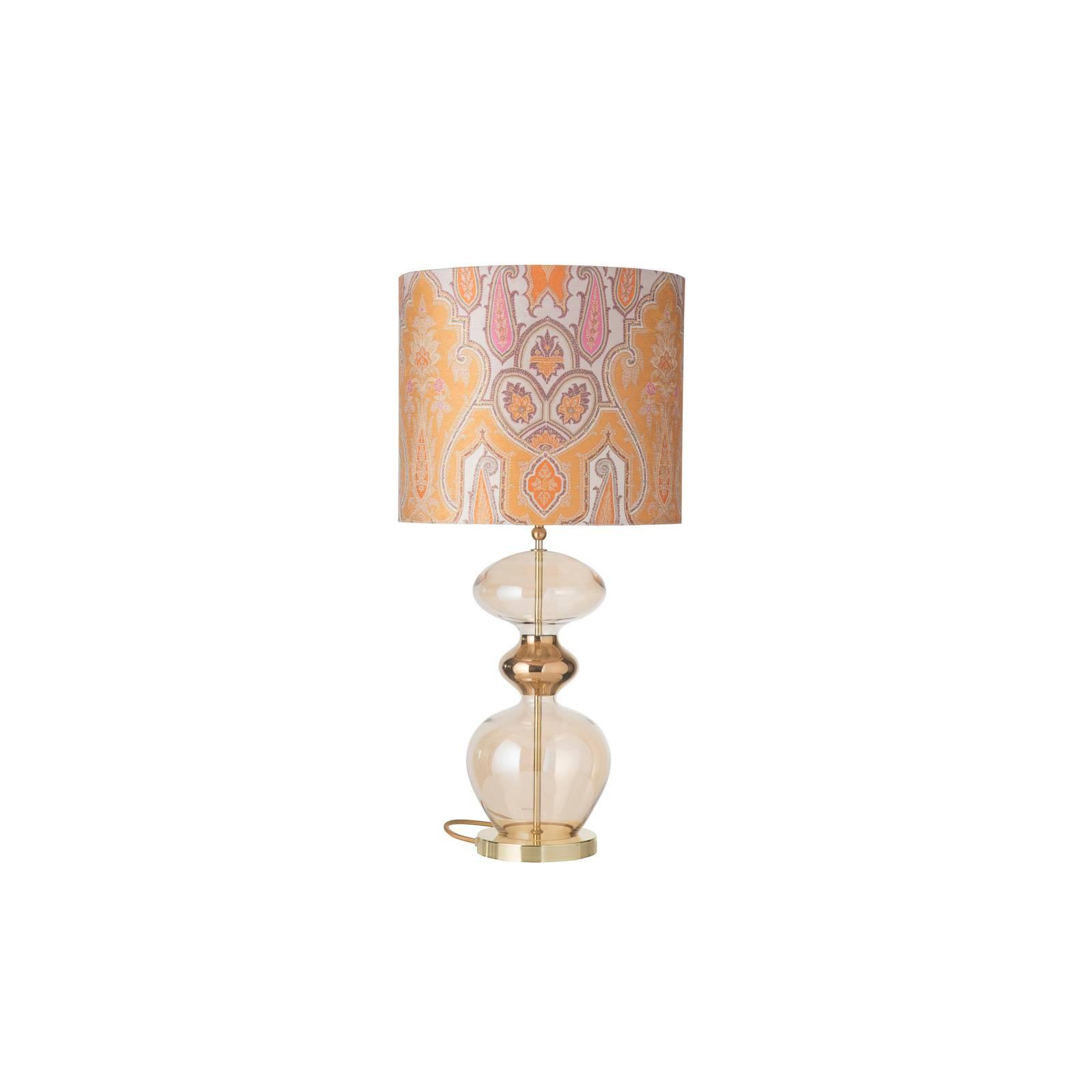 EBB & FLOW Futura Tischlampe, Brocade yellow/pink günstig online kaufen