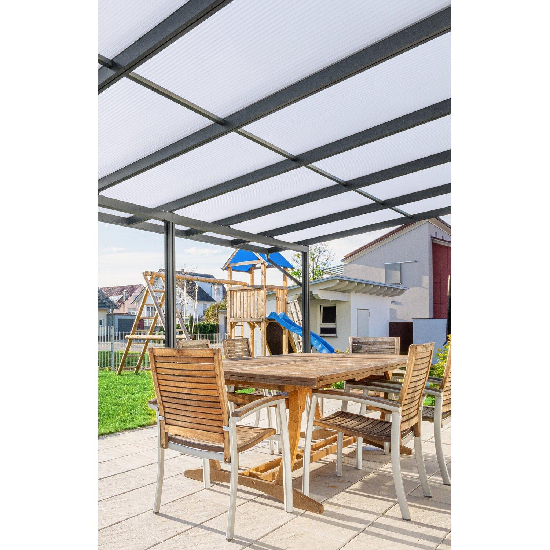 Terrassendach Premium Anthrazit Stegplatten Acryl Klima blue 8125 mm x 5060 günstig online kaufen