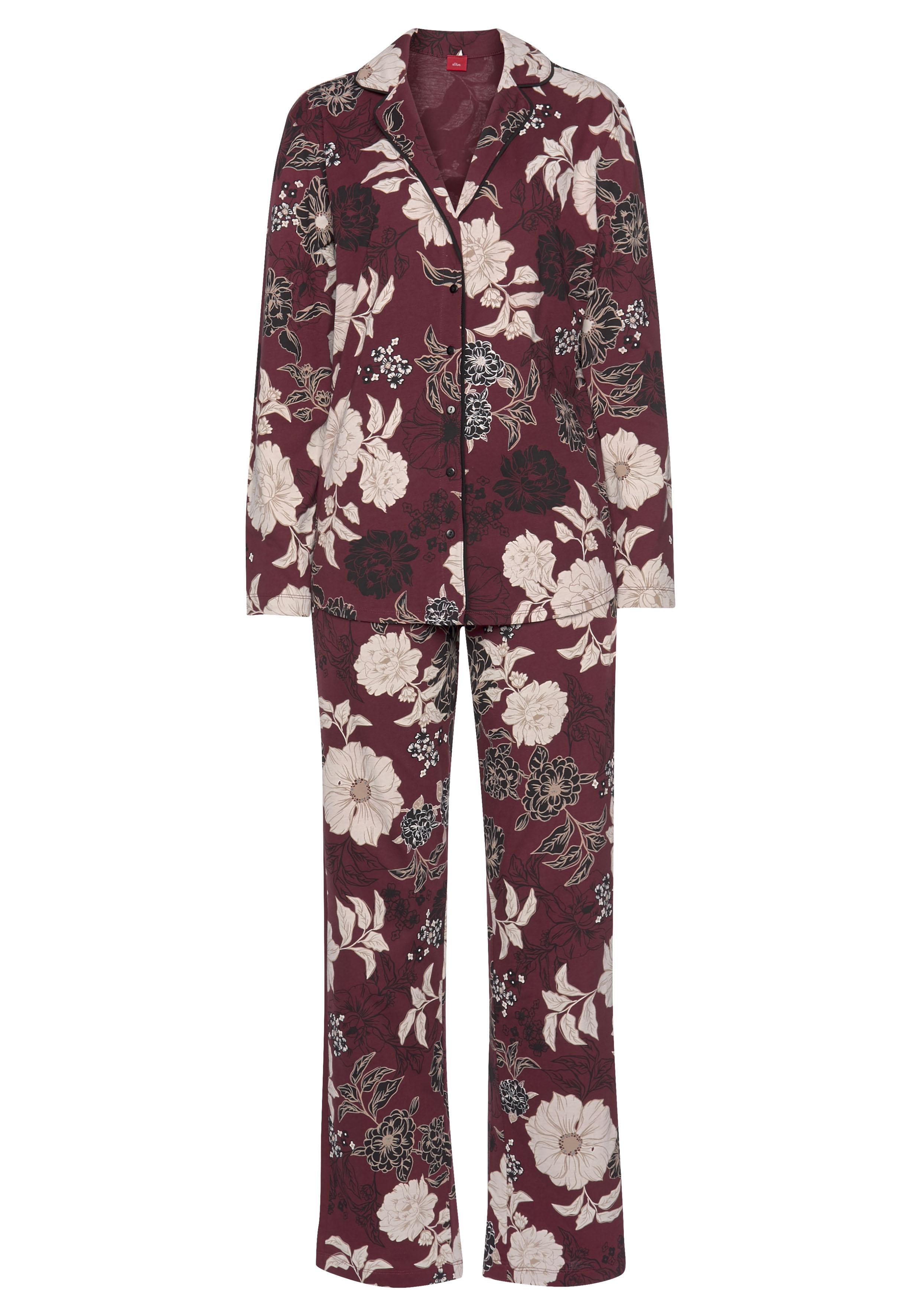 s.Oliver Pyjama in klassischer Form mit Blumenmuster günstig online kaufen