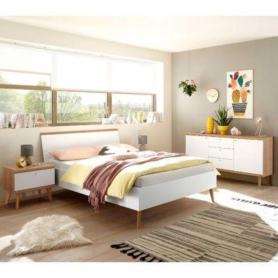 Schlafzimmer Jugendbett Kombination MAINZ-61 in weiß matt mit Eiche Riviera günstig online kaufen