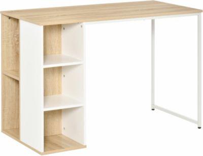 HOMCOM Schreibtisch Tisch mit Bücherregal braun/weiß günstig online kaufen