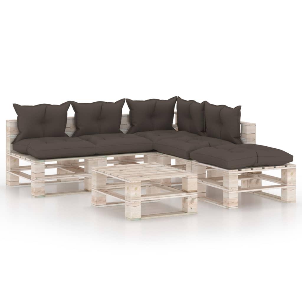 6-tlg. Garten-sofagarnitur Aus Paletten Mit Kissen Kiefernholz günstig online kaufen