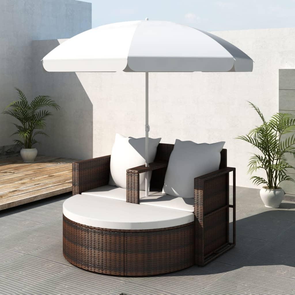 Gartenbett Mit Sonnenschirm Braun Poly Rattan günstig online kaufen