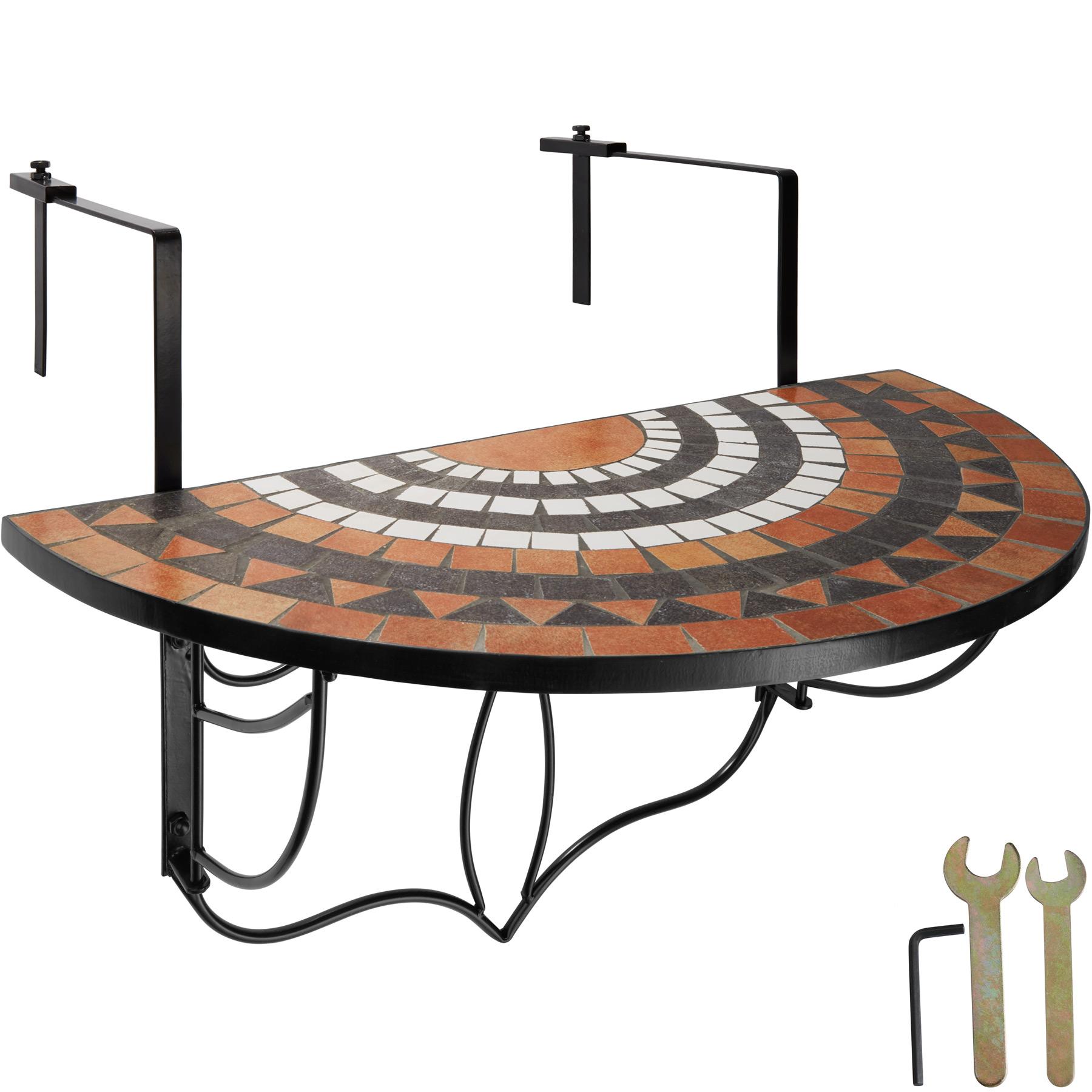 Balkontisch Mosaik klappbar terracotta/weiß günstig online kaufen