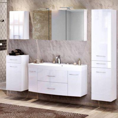 Badmöbel Set mit 120cm Waschtisch & Hochschrank FLORIDO-03 Hochglanz weiß B günstig online kaufen