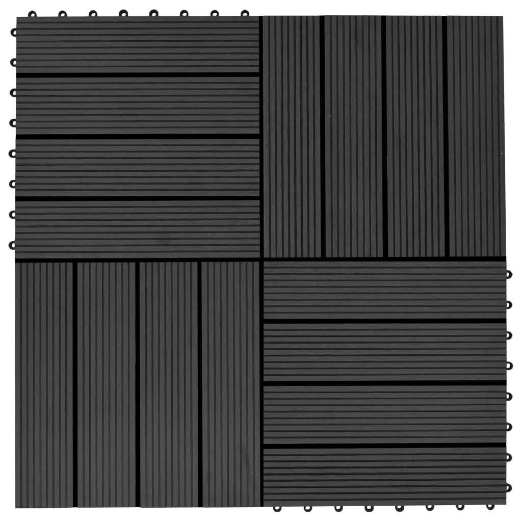 Terrassenfliesen 11 Stück Wpc 30 X 30 Cm 1 Qm Schwarz günstig online kaufen