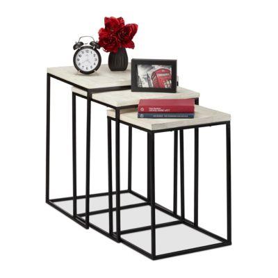 relaxdays Satztisch 3er Set quadratisch weiß günstig online kaufen
