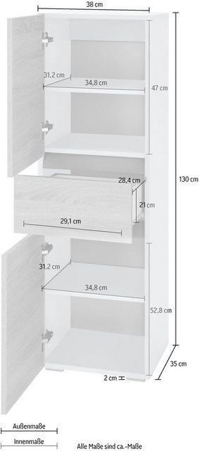 Home affaire Midischrank »Wisla« Höhe 130 cm, mit Türen & Schubkasten günstig online kaufen