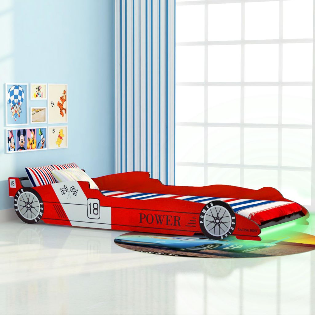 Kinderbett Mit Led Im Rennwagen-design 90 X 200 Cm Rot günstig online kaufen