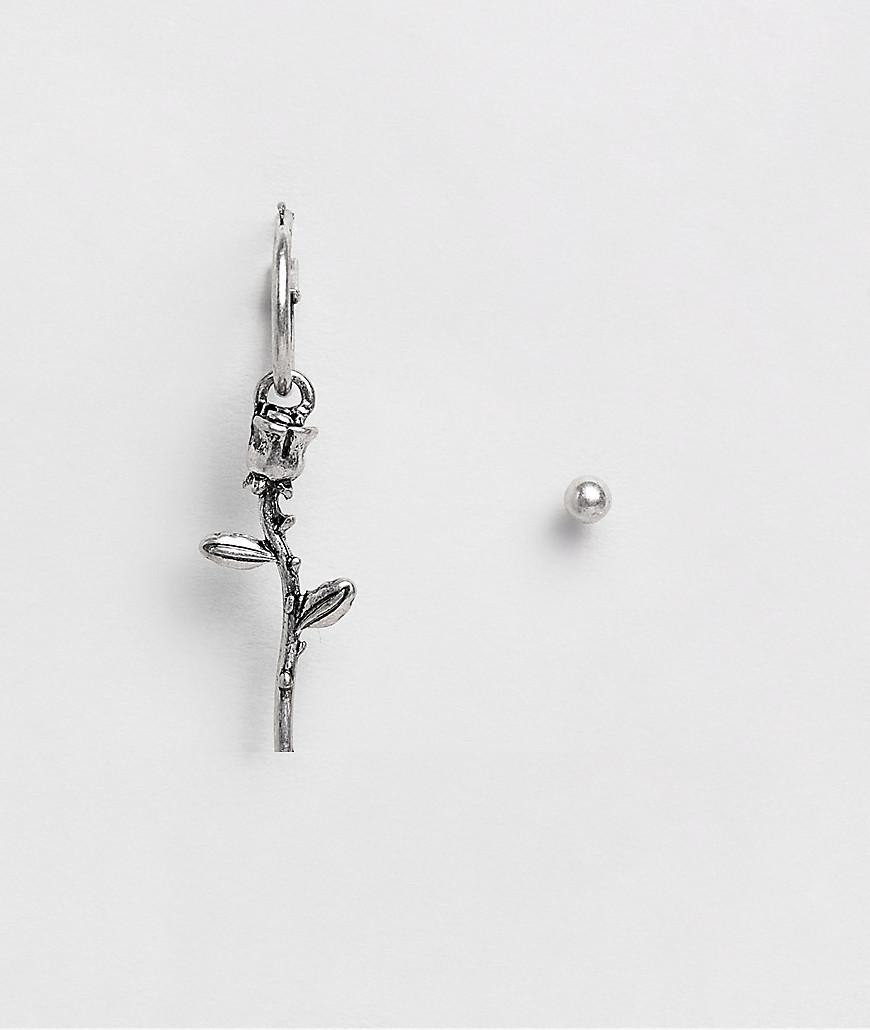 ASOS DESIGN – Creolen und Ohrstecker im Set mit Rosendesign in Silber polie günstig online kaufen