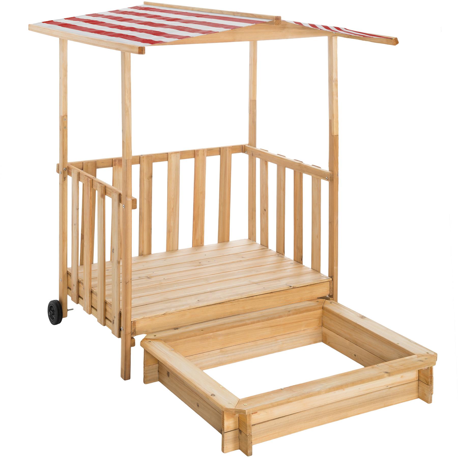 Sandkasten und Spielveranda mit Dach Gretchen rot günstig online kaufen