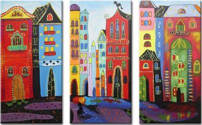 """YS-Art™ """"Gemälde Acryl """"""""Traumstadt"""""""" handgemalt auf Leinwand 120x60 cm"""" bu günstig online kaufen"""