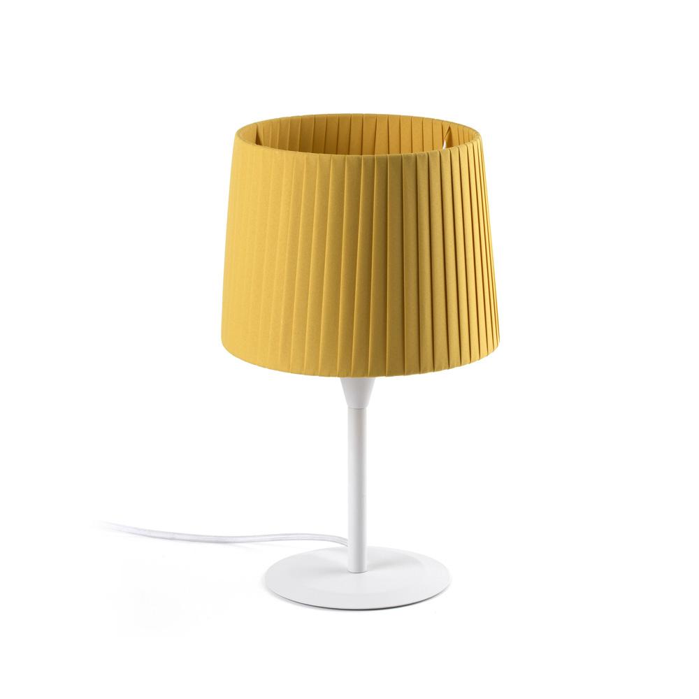 Faro Leuchten Samba Weiß Tischlampe Gelb Bebändert Schirm Ø, 64310-39 günstig online kaufen