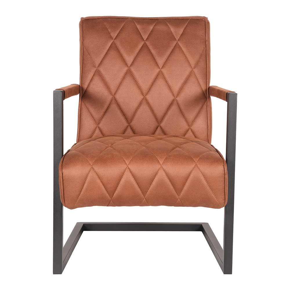 Schwing Sessel in Cognac Braun Microfaser Loft Design günstig online kaufen