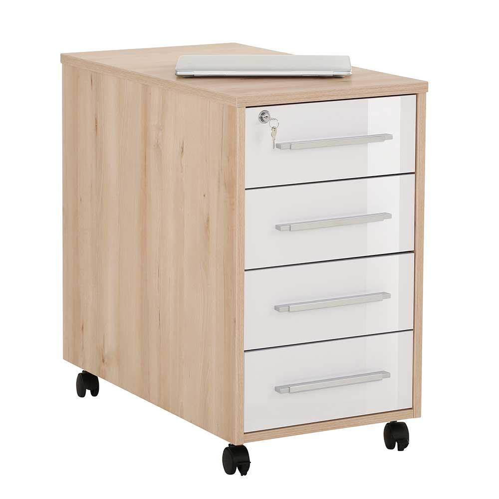Bürorollcontainer in Weiß Hochglanz und Buche Optik abschließbar günstig online kaufen