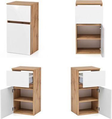 Badezimmer Unterschrank LAURIA-03 in Wotaneiche Nb. mit matt weiß, BxHxT: c günstig online kaufen