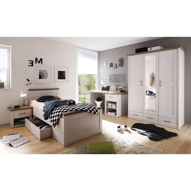 Jugendzimmer Set 4-tlg. LUND-78, Landhaus Stil, Pinie weiß Nb./Trüffel Eich günstig online kaufen