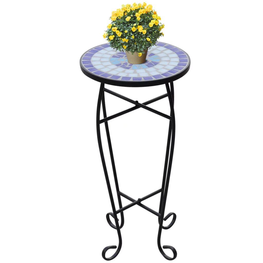 Mosaik Beistelltisch Tisch Bistrotisch Blumenständer Blau günstig online kaufen
