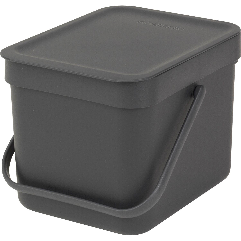 Brabantia Abfallbehälter Sort & Go 6 l Grey mit Wandhalterung günstig online kaufen