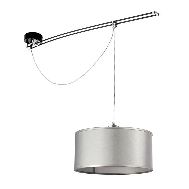 Lumina - Moove Pendelleuchte - Stoff grau/H 42,5cm/Ø 20,5cm/L 125cm/Baldach günstig online kaufen