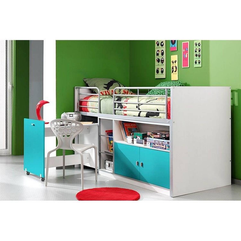 Kinderbett BONNY-12, mit rollbarem Schreibtisch, 90x200cm, Weiß Türkis günstig online kaufen