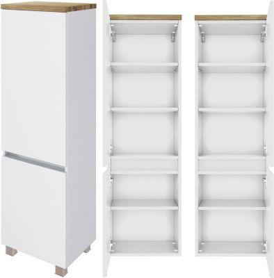 Badezimmer Midischrank PESARO-03 in matt weiß mit Absetzung in Wotaneiche N günstig online kaufen