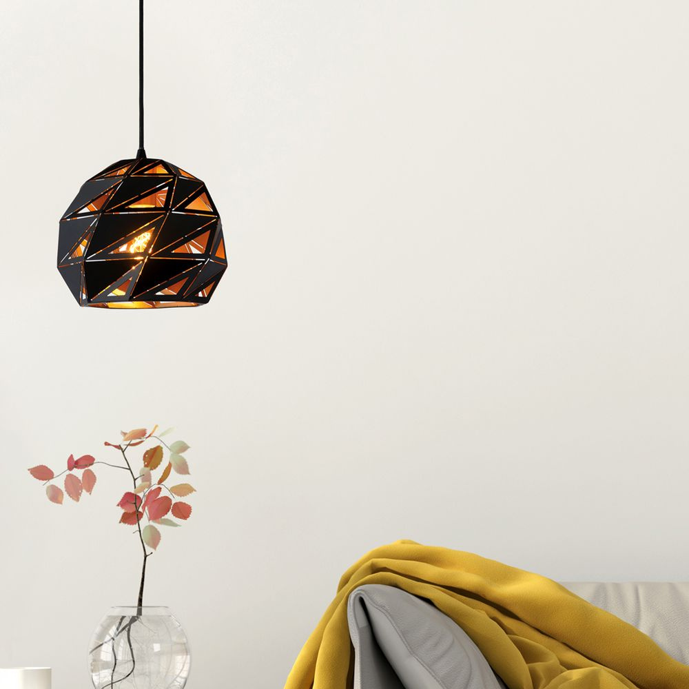 Pendelleuchte Malunga in Schwarz und Gold E27 günstig online kaufen