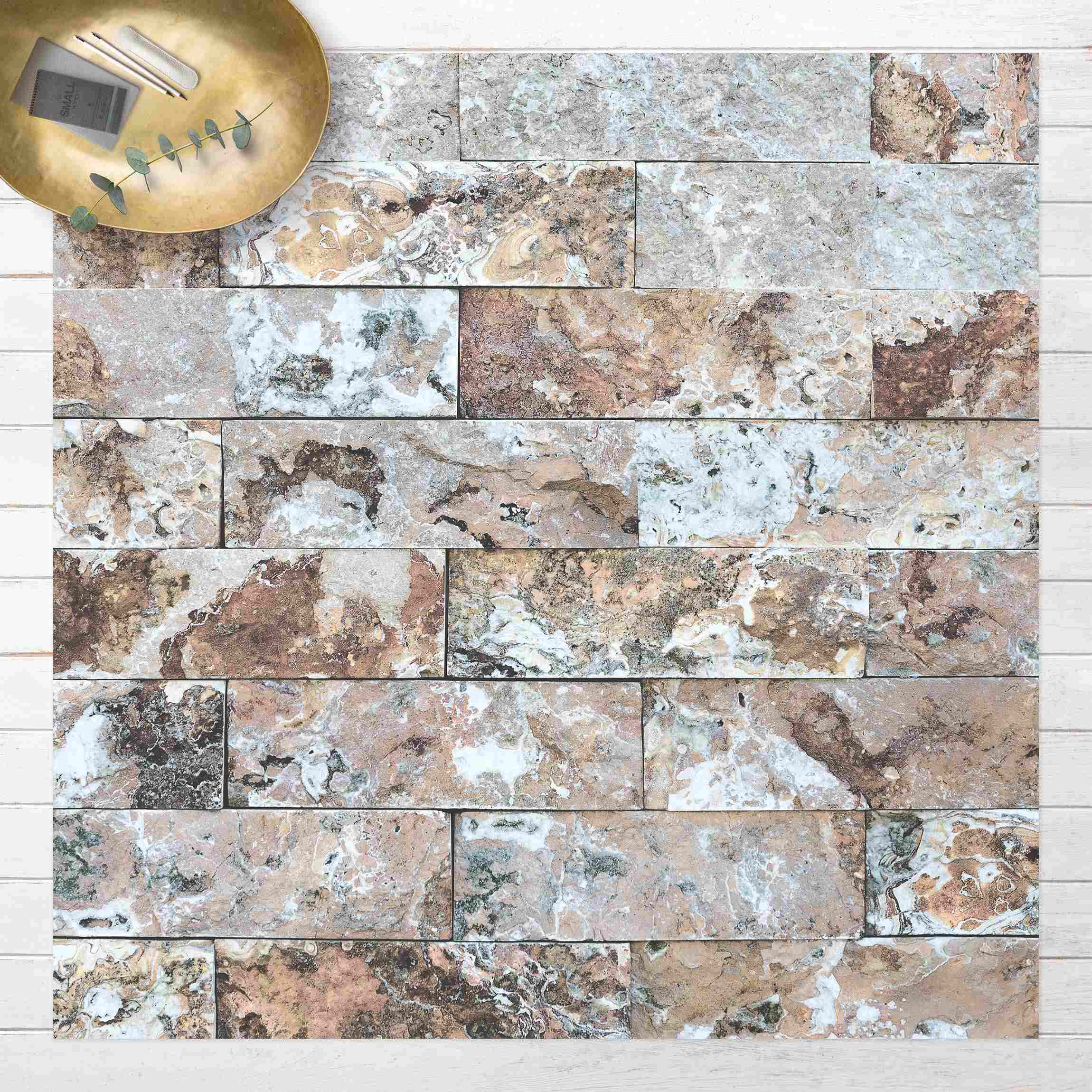 Vinyl-Teppich Naturmarmor Steinwand günstig online kaufen