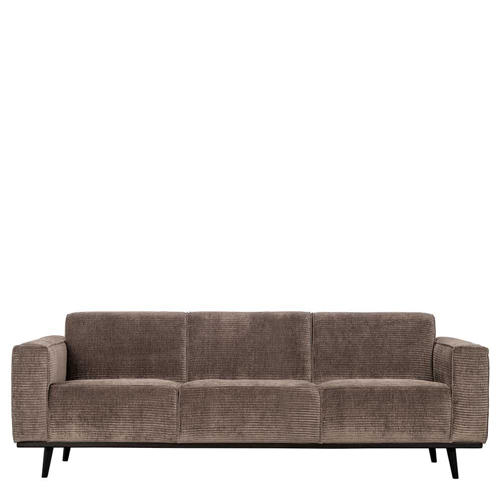 Cord Sofa in Taupe Vierfußgestell aus Holz günstig online kaufen