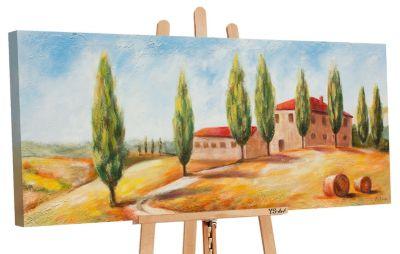"YS-Art™ ""Gemälde Acryl """"Toskana"""" handgemalt auf Leinwand 115x50 cm"" gelb günstig online kaufen"