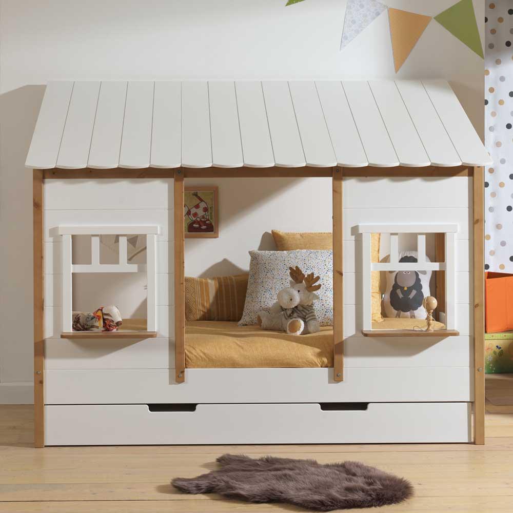 Kinder Landhausbett in Weiß und Eichefarben Bettkasten günstig online kaufen