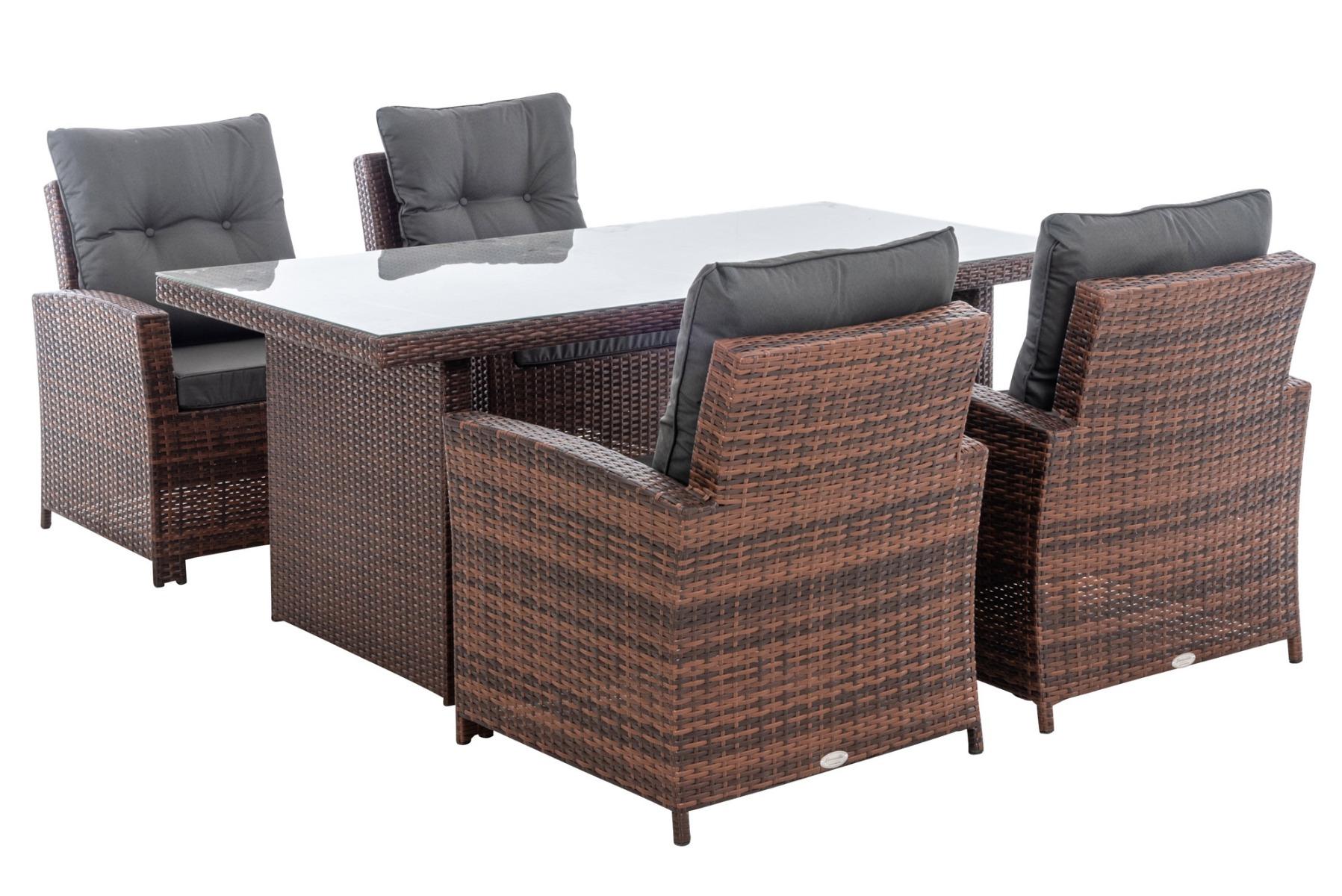 M# 4er Set Stuhl Fisolo mit Tisch Avignon 180-braun-meliert-eisengrau günstig online kaufen